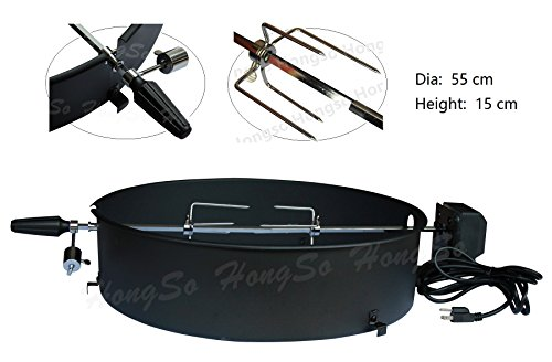 Hongso CGR002 Upgrade Charcoal Kettle Rotisserie Kit for Select 22-1/2 Inch Charcoal Grill Models by Weber, Char Broil, Masterbuilt, Napoleon, Kingsford etc.