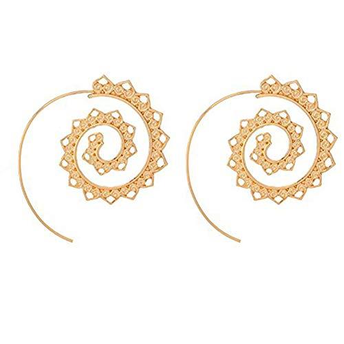 Gear Spiral Hoop Earrings Vintage Tribal Swirl Flower Open Earrings Stud for Women Girls Fashion Jewelry Gifts