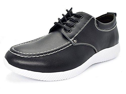 Eagsouni® Herren Lederschuhe Schnürhalbschuhe Casual Schuhe Ultra-Licht Sport Leder Sneaker Schwarz