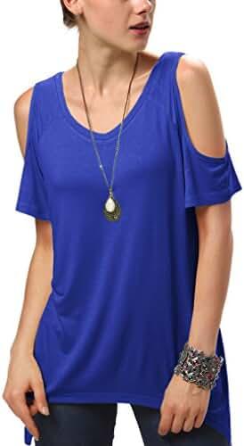 Urban CoCo Women's Vogue Shoulder Off Wide Hem Design Top Shirt - XXX-Large - Royal Blue