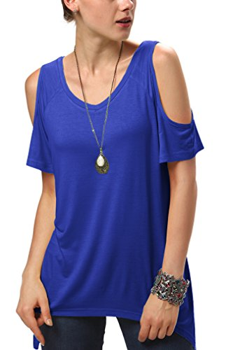 (Urban CoCo Women's Vogue Shoulder Off Wide Hem Design Top Shirt - Medium - Royal Blue)