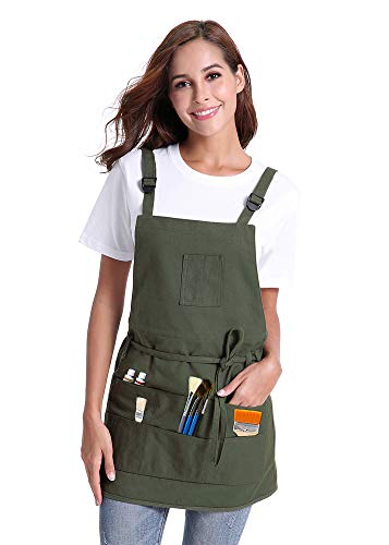 - TeajayF Apron,Canvas Painting Apron with 10 Pockets, Paint Gardening Shop Artist Waxed Aprons for Women Men Adults,Adjustable M-XXL