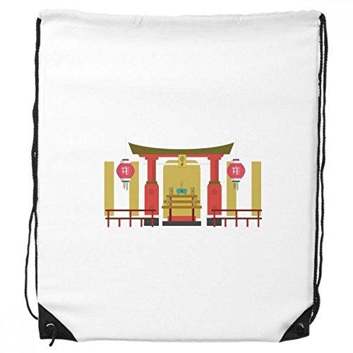 Lantern Memorial Gateway China Town Drawstring Backpack Shopping Sports Bags - Shopping Gateways