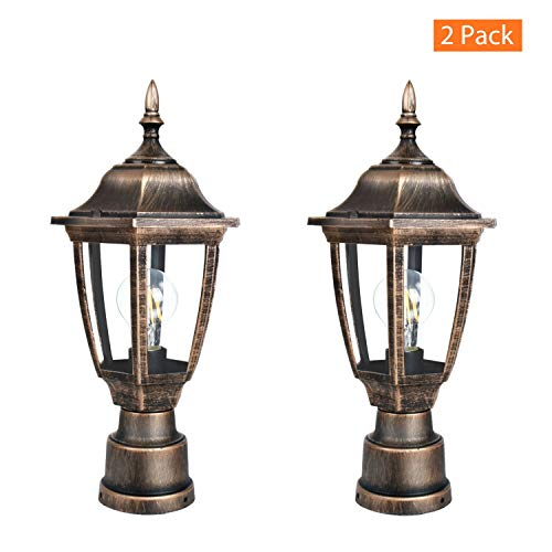 FUDESY 2-Pack Post Light Fixtures Outdoor,Plastic LED Black-Golden Post Lanterns Include 12W 1200LM Edison Filament Bulb(Corded-Electric), FDS2543G ()