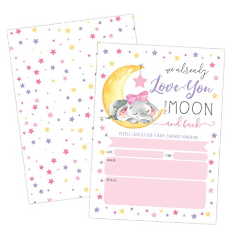 Baby Shower Invitation, Love You to The Moon and Back Baby Shower Invitation, Girl Elephant Baby Shower Invite, Twinkle Twinkle Little SAR, 20 Fill in Invitations and Envelopes