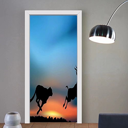 Gzhihine custom made 3d door stickers Safari Cheetah Hunting an Antelope View of Wild Nature African Travel Picture Sky Blue Salmon Black For Room Decor 30x79 by Gzhihine