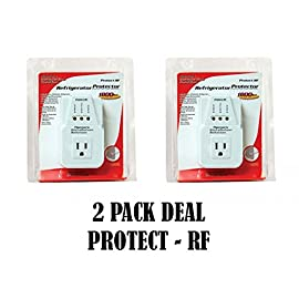 2 Pack Voltage Protector Brownout Surge Refrigerator 1800 Watts Appliance 5 USE ON: Refrigerators, Freezers, Water Coolers or any Appliance with a max current of 15 amps. Protect your appliance from HIGH voltage (140 VAC) or LOW voltage (90 VAC) by interrupting the current flow. Over Voltage Disconnection