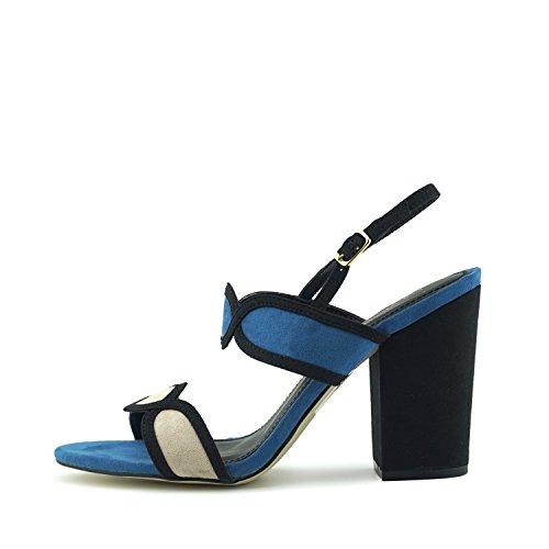 Retro Blockabsatz Sandalen Stil Schuhe Damen Kick Knöchelriemen Blau xqwfgI
