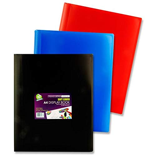 Display Softcover Book (Premier Stationery H2719660 A4 60 Pocket Soft Cover Display Book - Multi-Colour (Pack of 12))