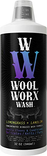 WOOL WORX WASH (32 OZ) Fine Fabric Laundry Detergent - Enriched w/Lanolin & Lemongrass Oil - Specially Formulated for Cashmere, Wool & Delicate Garments - Biodegradable, Non-Scented, Non-Synthetic