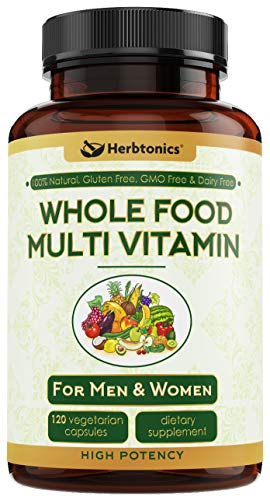 Whole Food Multivitamin for Men & Women-Daily Vitamin for Men and Women with Organic Fruits, Probiotic Digestive Enzymes Vitamin E, A, B Complex Ginkgo Bilboba Ceylon Cinnamon Turmeric wholefood (Best Organic Whole Food Multivitamin)