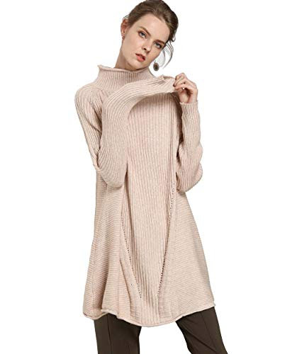 Cashmere Beige Sweater (FINCATI Women's Sweater Pullover Turtleneck Cashmere Wool Soft Cozy Ribbed Elbow Oversized Long Sweaters Tunic (A-Beige, One Size))