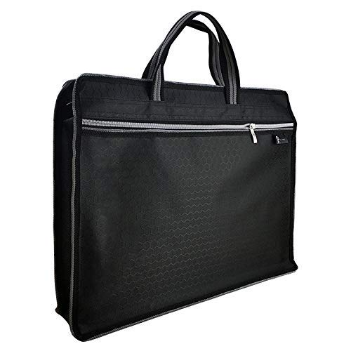 Q Two - Business Briefcase Zipper Bag - Document File Laptop Briefcase, Waterproof, Lightweight Travel for Notebook, Portfolio, Files, Books, Home, School, Office, Meetings (B4 Size) (Black) ()