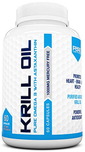 Krill Oil 1000mg with Astaxanthin Omega 3 6 9 - EPA DHA - 100% Purified, Mercury Free and Wild Caught - Non GMO - Gluten Free - Pure Krill Oil - Mega Dose Phospholipids (60 Capsules)