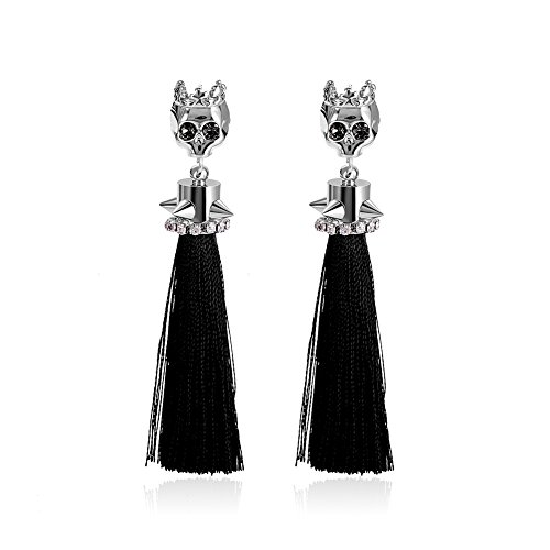 [Unique Punk Rhinestone Skeleton White Gold Plated Skull Head with CZ Inlay Tassel Drop Stud Earrings for Women Christmas Halloween] (Cute Couples Halloween Outfits)