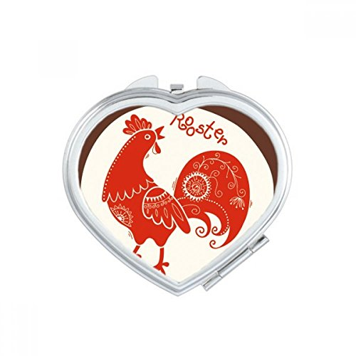 DIYthinker Year Of Rooster Animal China Zodiac Red Heart Compact Makeup Mirror Portable Cute Hand Pocket Mirrors Gift by DIYthinker