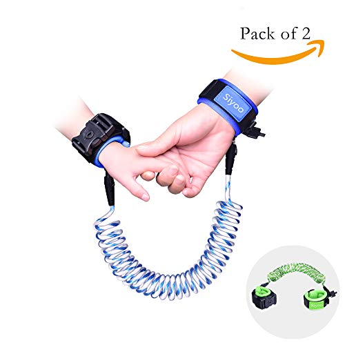 Reflective Anti Lost Wrist Link with Child Lock, Siyoo Toddler Child Harness Leash for Outdoor Activities, Shopping, Pack of 2 (4.92ft Green & 8.2ft Blue) by Siyoo