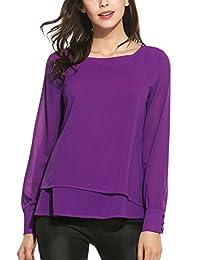 ACEVOG Women's Casual Long Sleeve Scoop Neck Solid Chiffon Top T-shirt Blouse