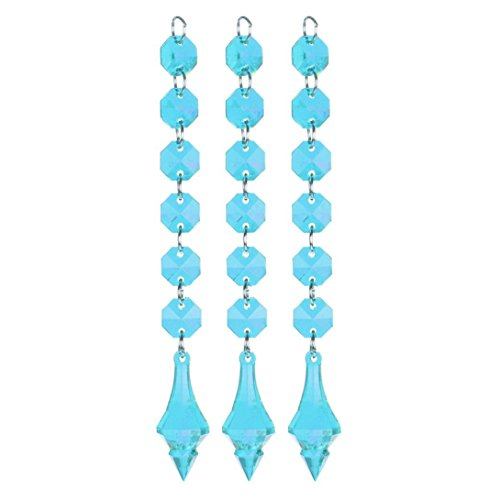 Sunward 10 Pieces Wedding Acrylic Crystal Beads Drops Pendant Chandelier Garland Hanging Curtain Interior Decor (Blue N) Entry Chandelier Art