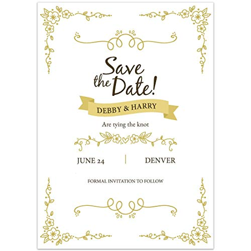 Amazon Com Gold Flower Lines Save The Date Card Wedding Invitation