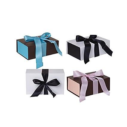 Jillson Roberts 4 Count Medium Ribbon-Tie Gift Boxes, White/Black, Cocoa/Pink, Espresso/Blue (SMRB001)