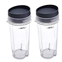 Ninja Single Serve Cup Set, 16-Ounce for BL770 BL780 BL660 All Pro 4 Tab Blen...