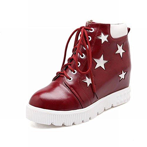 Carolbar Womens Lace Up A Forma Di Stella Modello Nascosto Zeppa Moda Sneakers Vino Rosso
