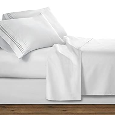 Clara Clark Premier 1800 Series 4pc Bed Sheet Set - Queen, White