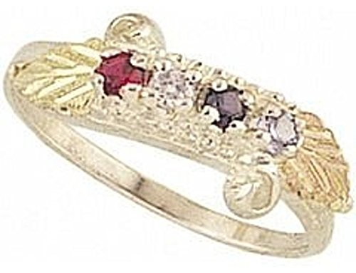 Black Hills Gold Mothers Ring (Black Hills Gold Silver Mother's Ring - 2 stones - MR904)