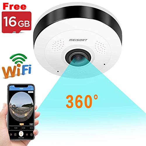 Wireless WiFi IP Camera Indoor 360 Degree Panoramic Camera Home  Security Surveillance Camera Motion Detect Night Vision 2 Way Audio  HD Fisheye Camera Baby/Home/Office/Pet Monitor, IOS Android