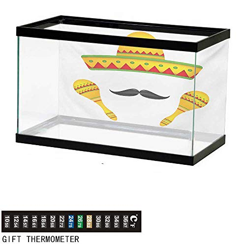 (wwwhsl Aquarium Background,Mexican,Famous Centerpiece Icons of Mexico Sombrero Moustache Rumba Shaker Mesoamerican Print,Yellow Fish Tank Backdrop 60