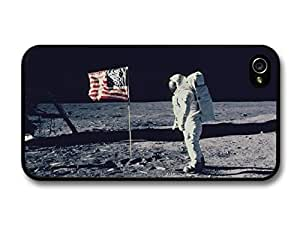 Vintage Photo of Spaceman on the Moon Landing with American Flag case for iPhone 4 4S
