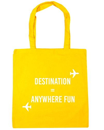 HippoWarehouse destino cualquier lugar diversión bolsa de la compra bolsa de playa 42cm x38cm, 10litros amarillo