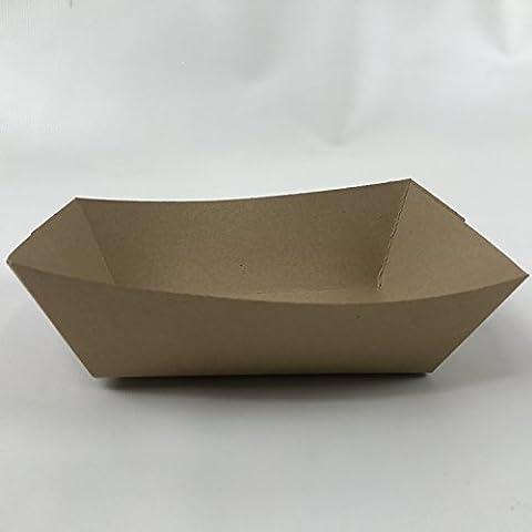 Black Cat Avenue Natural Kraft Eco-Print Paper Food Tray, 2 lb, 100-Pack (Paper Food Trays 2lb)