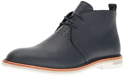 Calvin Klein Men's Jonas Tumbled Leather Ankle Bootie, Dark Navy, 9.5 M (Navy Tumbled Leather)