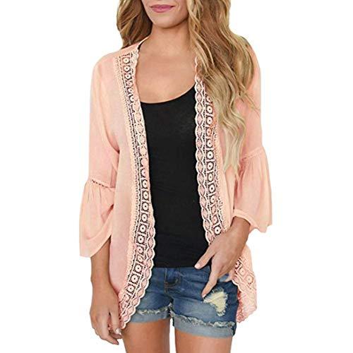 (Toimoth Womens Casual Solid Long Sleeve Chiffon Cardigan Loose Kimono Lace Blouse Tops(Khaki,XL))