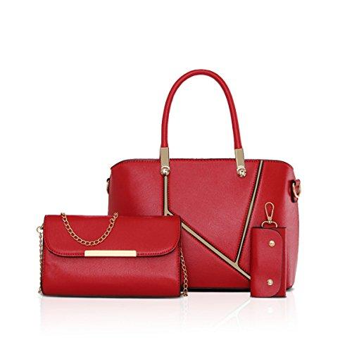 Practical Set Red Red NICOLE 3pcs Key DORIS amp; Handbag Fashion Shoulder Bag Holder Women PU Handbag Tote Leather 7g16xRq7Tw