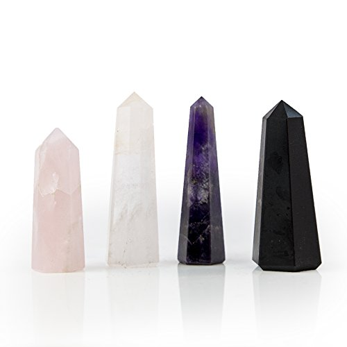 Beverly Oaks Crystal Obelisk Set Featuring Deep Purple Amethyst, Clear Quartz, Rose Quartz and Black Tourmaline - Powerful Gemstone Healing Wands
