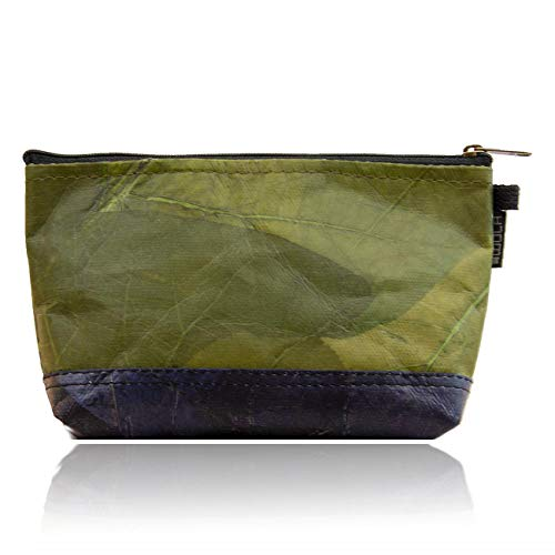WOLA Kosmetikbeutel Damen und Herren vegan SELVA Kulturbeutel aus Blattleder 10,5x20x5,5 cm grün