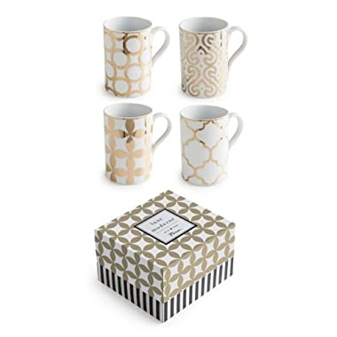 Rosanna 94936 Luxe Moderne Mugs, White/Gold, Set of 4