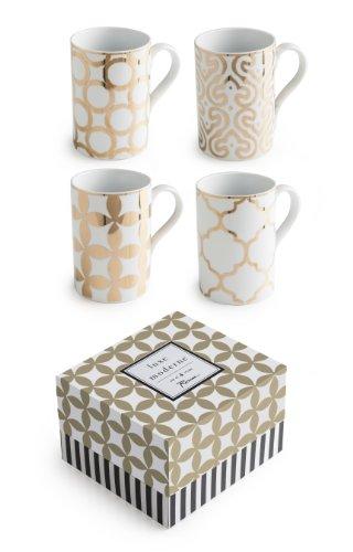 Rosanna 94936 Luxe Moderne Mugs, White/Gold, Set of 4