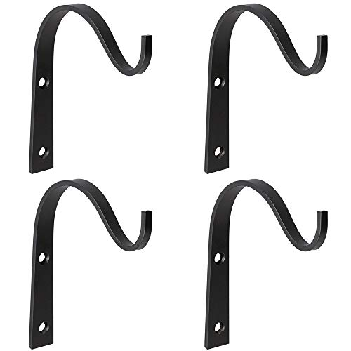 Mkono 4 Pack Iron Wall Hooks Metal Heavy Duty Plant Hanger Bracket Coat Hook Decorative Hook for Hanging Lantern Planter Bird Feeders Coat Indoor Outdoor Rustic Home Decor, Screws Included (Wrought Iron Wall Mounted Flower Pot Holder)
