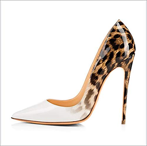 Women's PU(Polyurethane) Spring/Summer Club Shoes Heels Stiletto Heel Pointed Toe Animal Print White/Wedding/Party & Evening,US6.5~7/EU37/UK4.5~5/CN37