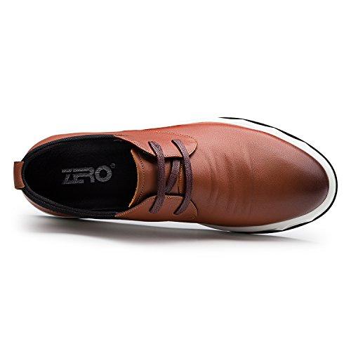 Zro Mens Läder Oxfords Tillfälliga Snörskor Lätt Brun