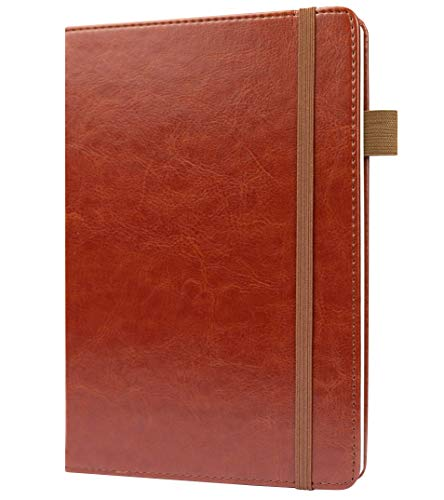 Lined Ruled Leather Journal Notebook by Scribbles That Matter - A5 Hardcover Notebook For Executive Business Writing Record Keeping - Thick Paper - Card Holder, Penloop and End Pocket