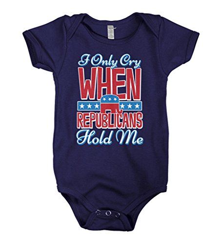Mixtbrand Baby Boys' I Only Cry When Republicans Hold Me Infant Bodysuit 6M Navy