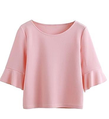 SweatyRocks Women's Ruffle Half Sleeve Casual T-shirt Solid Elegant Blouse Top