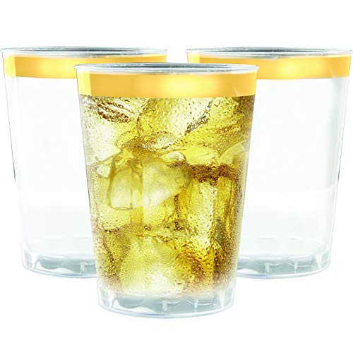 (100 Gold Rimmed Plastic Cups, 12 oz - Clear with Gold Rim Disposable Cup Set for Wedding or Party )