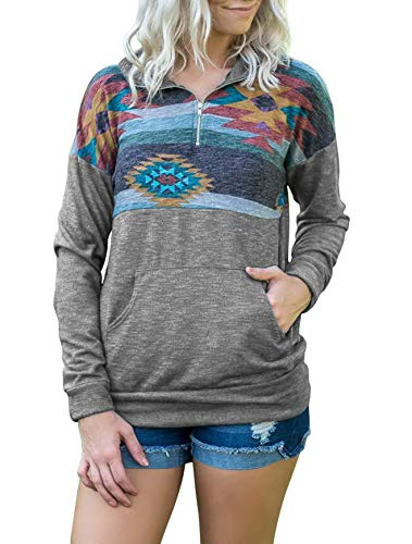 TECREW Women's Floral Printed Sweatshirt 1/4 Zip Long Sleeve Pullover Tops with Pockets Light Grey