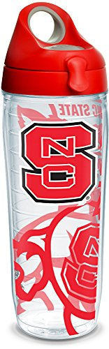 Tervis 1289650 NC State Wolfpack Tumbler with Wrap and Red with Gray Lid, 24oz Water Bottle, Clear (Tumbler Tervis Wolf)
